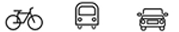 rowerem, autobusem, samochodem