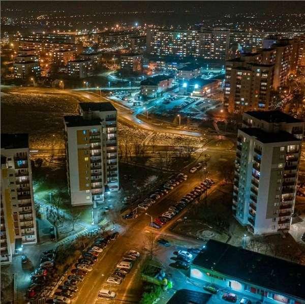 Częstochowa nocą zdjęcie z lotu ptaka
