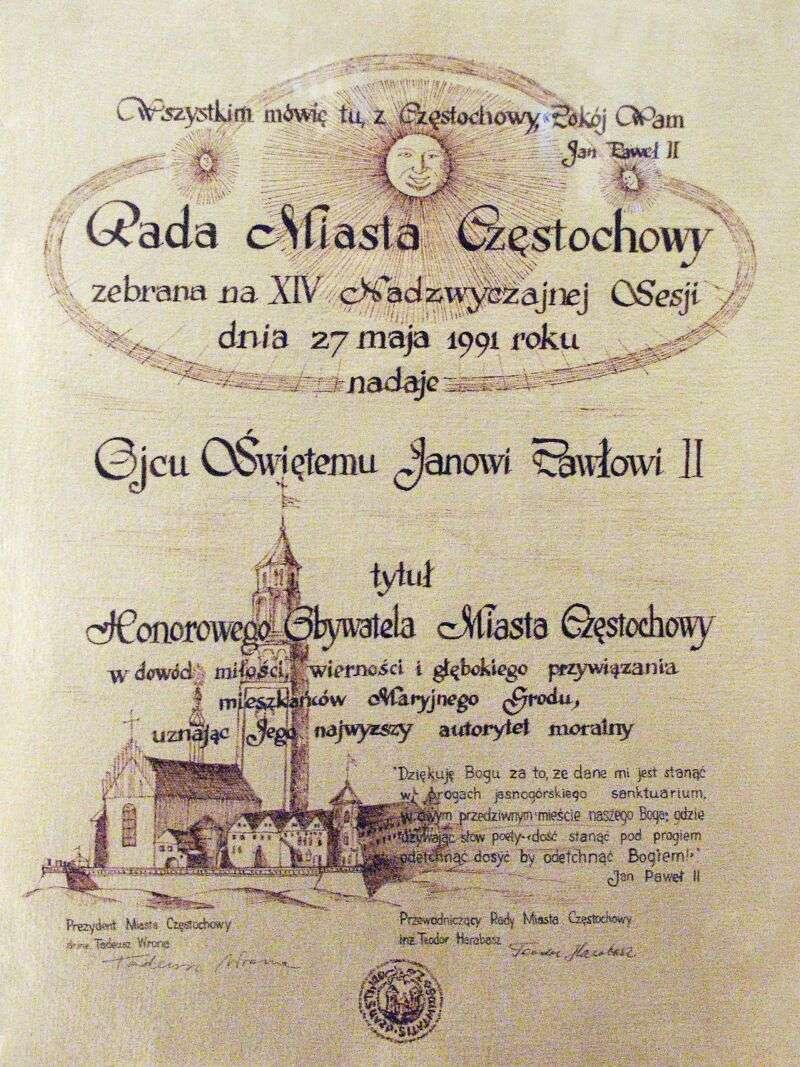 Akt nadania Honorowego Obywatelstwa Ojcu Świętemu Janowi Pawłowi II